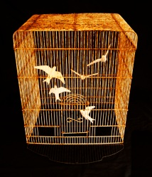 Of Our Own Making, porcelain and cage